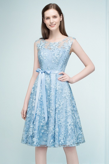 BMbridal A-line Sleeveless Knee Length Appliques Homecoming Dress with Robbin Sash Online_4