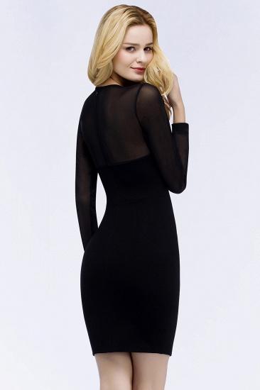 BMbridal Sheath Long Sleeves Sheer Neckline Short Black Homecoming Dress_3