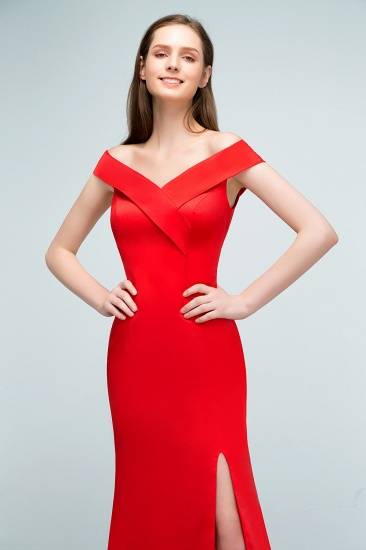 Red Off-the-Shoulder Mermaid Prom Dress Long With Split_9
