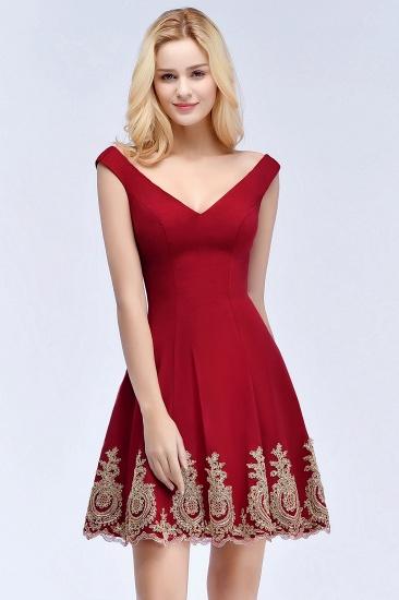 BMbridal A-line V-neck Short Off-shoulder Appliques Burgundy Homecoming Dress Online_6