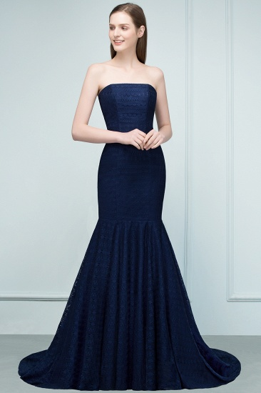 Elegant Navy Strapless Lace Mermaid Evening Prom Dress Long Online_9
