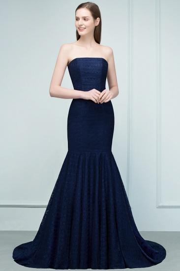 BMbridal Elegant Navy Strapless Lace Mermaid Evening Prom Dress Long Online_9