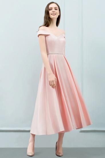 BMbridal A-line Off-shoulder Tea Length Pink Prom Dress with Sash_2