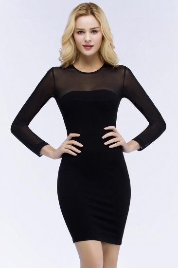 BMbridal Sheath Long Sleeves Sheer Neckline Short Black Homecoming Dress_1
