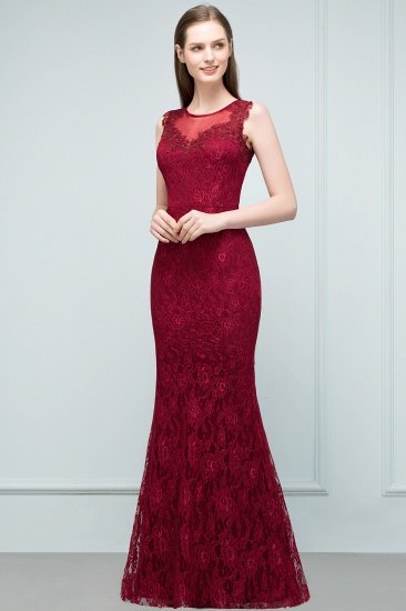 Gorgeous Bugrundy Lace Prom Dress Long Mermaid Evening Gowns Online_4