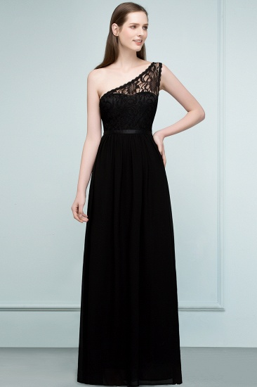 One Shoulder Black Lace Long Bridesmaid Dresses Online