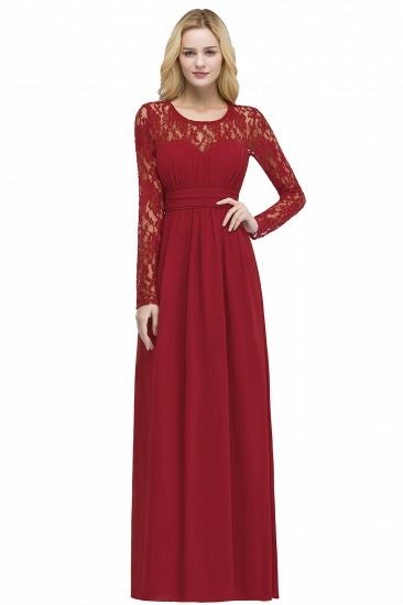 BMbridal A-line Floor Length Long Sleeves Lace Chiffon Bridesmaid Dress_1