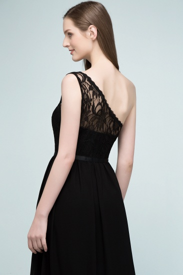 Chic One Shoulder Black Lace Long Bridesmaid Dresses Online In Stock_7