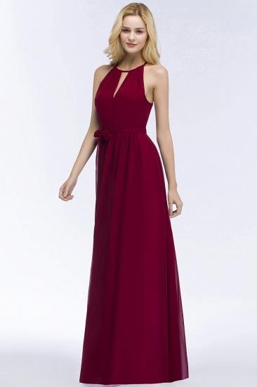 BMbridal A-line Halter Floor Length Burgundy Bridesmaid Dress with Bow Sash_11