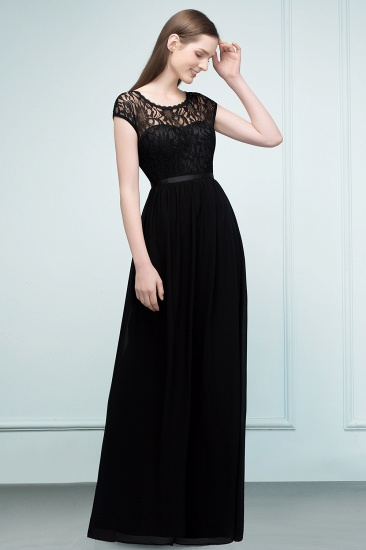 Affordable A-line Short-Sleeves Black Lace Bridesmaid Dress with Sash In Stock_7
