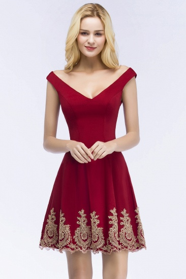 BMbridal A-line V-neck Short Off-shoulder Appliques Burgundy Homecoming Dress Online