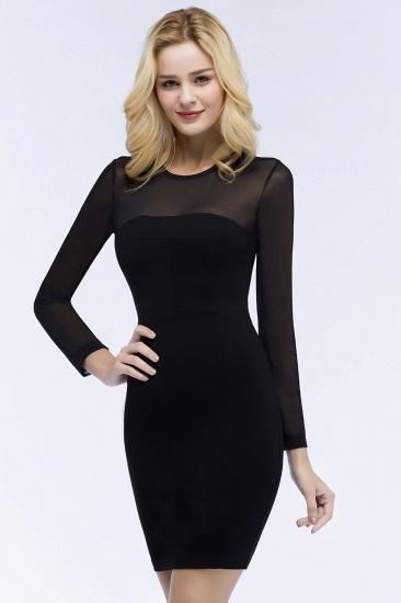 BMbridal Sheath Long Sleeves Sheer Neckline Short Black Homecoming Dress_9
