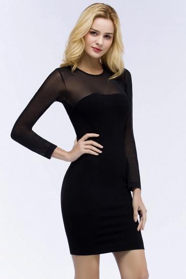 BMbridal Sheath Long Sleeves Sheer Neckline Short Black Homecoming Dress_7