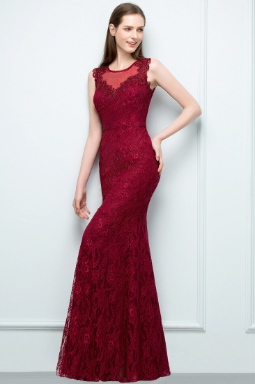 Gorgeous Bugrundy Lace Prom Dress Long Mermaid Evening Gowns Online_6