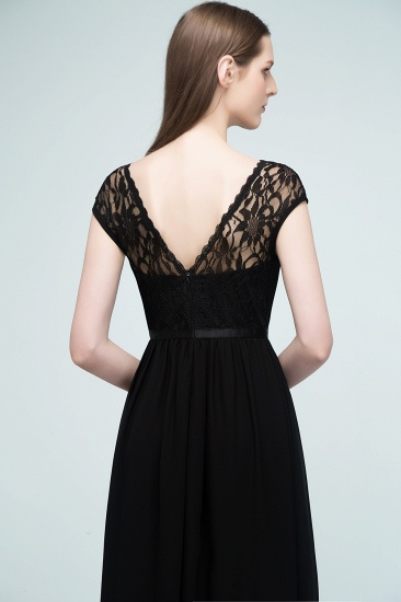 Affordable A-line Short-Sleeves Black Lace Bridesmaid Dress with Sash In Stock_9