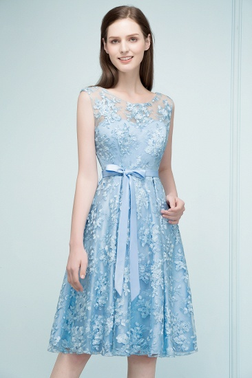 BMbridal A-line Sleeveless Knee Length Appliques Homecoming Dress with Robbin Sash Online_8