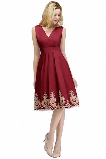 BMbridal A-line V-neck Knee Length Sleeveless Appliques Homecoming Dress Online_2