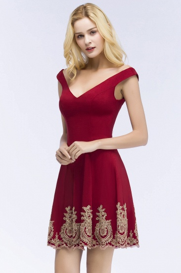 BMbridal A-line V-neck Short Off-shoulder Appliques Burgundy Homecoming Dress Online_5