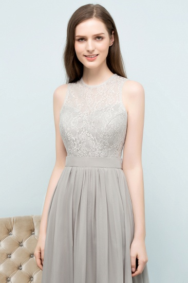 Affordable Lace Sleeveless Silver Bridesmaid Dress with Ruffles_5