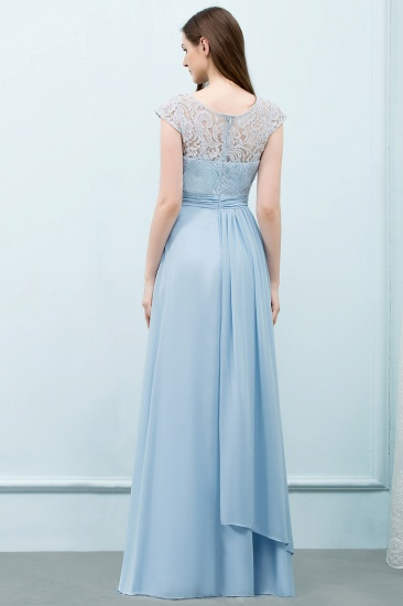 BMbridal Affordable Lace Sleeveless Blue Bridesmaid Dresses With Scoop Cap_3