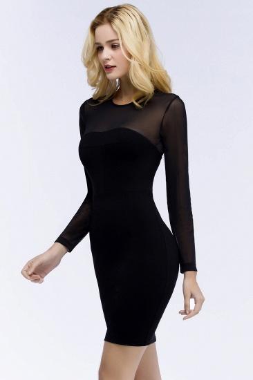 BMbridal Sheath Long Sleeves Sheer Neckline Short Black Homecoming Dress_8