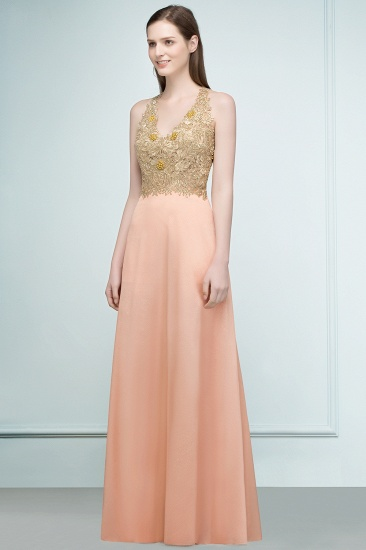BMbridal A-line Floor Length Spaghetti V-neck Appliqued Chiffon Bridesmaid Dress Online_6