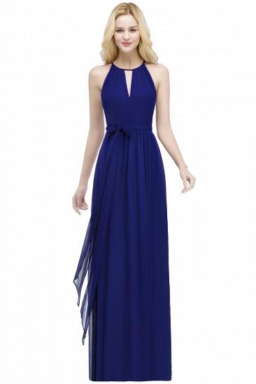 BMbridal A-line Halter Floor Length Burgundy Bridesmaid Dress with Bow Sash_4
