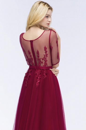 BMbridal A-line Floor Length Appliques Tulle Bridesmaid Dress with Sleeves_12