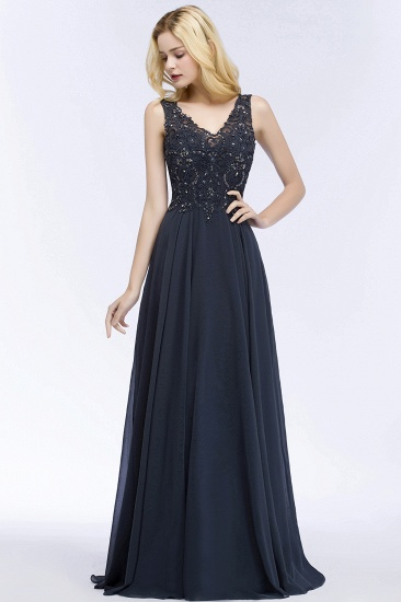 BMbridal A-line V-neck Sleeveless Long Appliqued Chiffon Prom Dress with Crystals_9