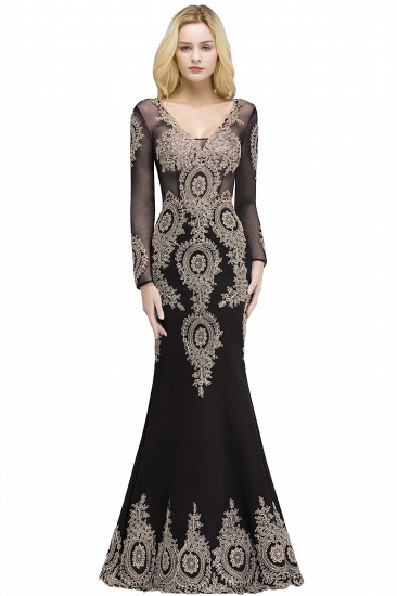 BMbridal Glamorous Long Sleeve Mermaid Prom Dress Long Evening Party Gowns With Lace Appliques_3