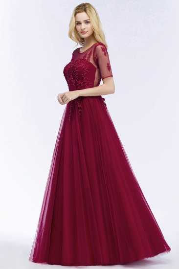 BMbridal A-line Floor Length Appliques Tulle Bridesmaid Dress with Sleeves_10