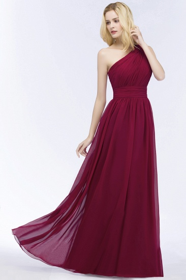 Chic One-shoulder Sleeveless Burgundy Chiffon Bridesmaid Dresses Online_55