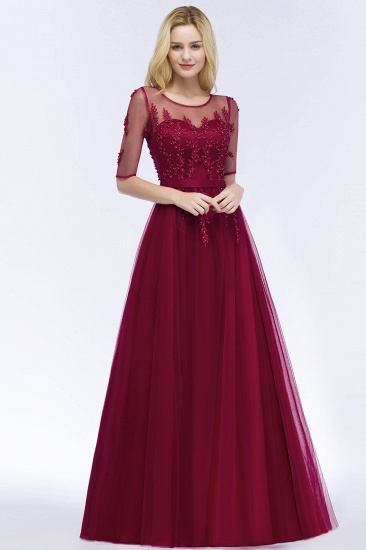 BMbridal A-line Floor Length Appliques Tulle Bridesmaid Dress with Sleeves_8
