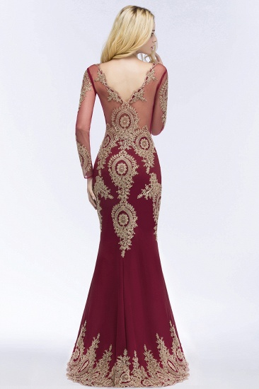 BMbridal Glamorous Long Sleeve Mermaid Prom Dress Long Evening Party Gowns With Lace Appliques_5