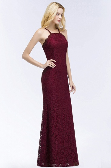 Sexy Mermaid Lace Long Burgundy Bridesmaid Dresses with Crisscross Back_6