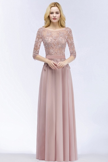 Elegant Scoop Half-Sleeves Lace Dusty Rose Bridesmaid Dress With Pearls_1