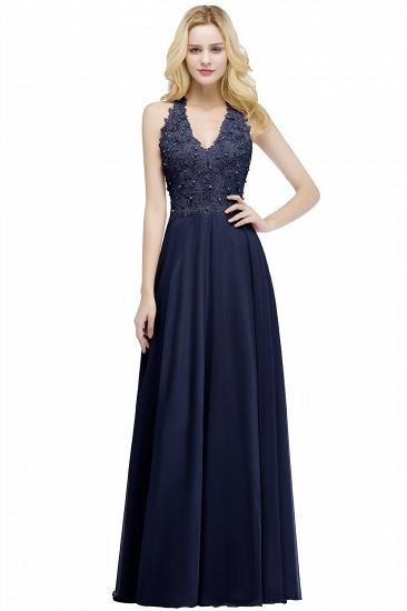 BMbridal A-line V-neck Sleeveless Long Appliques Chiffon Bridesmaid Dress_4