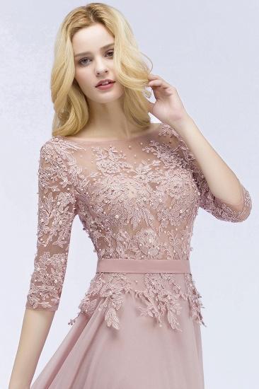 Elegant Scoop Half-Sleeves Lace Dusty Rose Bridesmaid Dress With Pearls_5