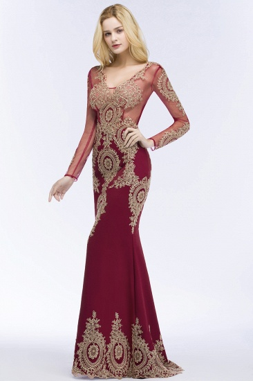 BMbridal Glamorous Long Sleeve Mermaid Prom Dress Long Evening Party Gowns With Lace Appliques_6