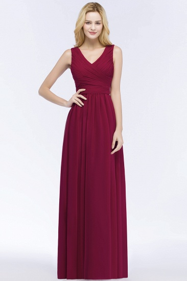 Vintage Sleeveless Pleated Burgundy Chiffon Bridesmaid Dresses Cheap_1