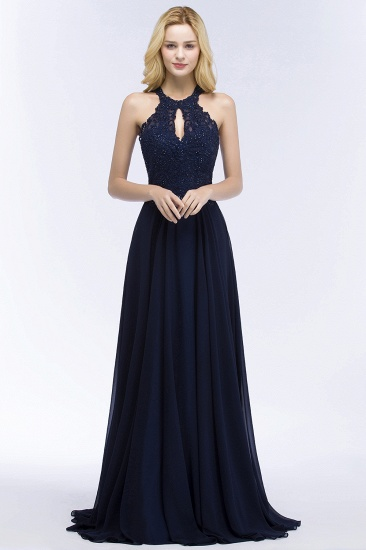 BMbridal A-line Keyhole Neckline Halter Long Beading Prom Dress_4