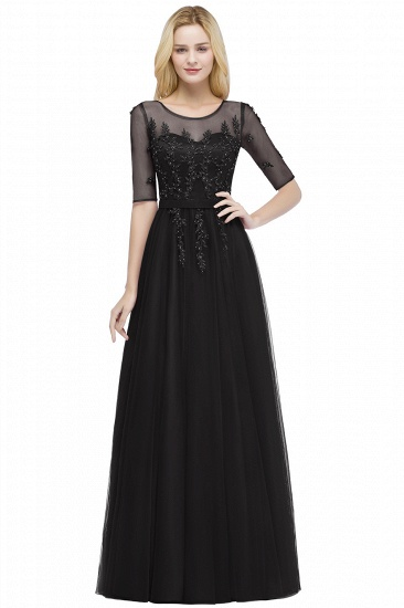 BMbridal A-line Floor Length Appliques Tulle Bridesmaid Dress with Sleeves_4