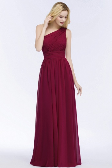 Chic One-shoulder Sleeveless Burgundy Chiffon Bridesmaid Dresses Online_54