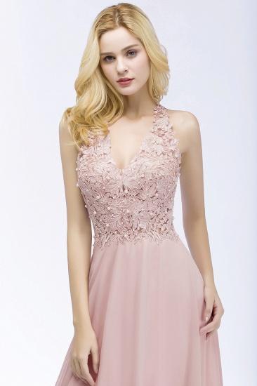 BMbridal A-line V-neck Sleeveless Long Appliques Chiffon Bridesmaid Dress_10