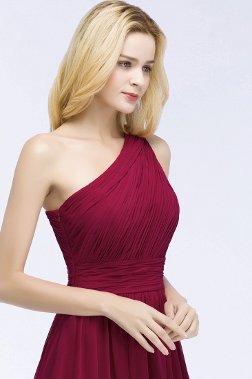 Chic One-shoulder Sleeveless Burgundy Chiffon Bridesmaid Dresses Online_57
