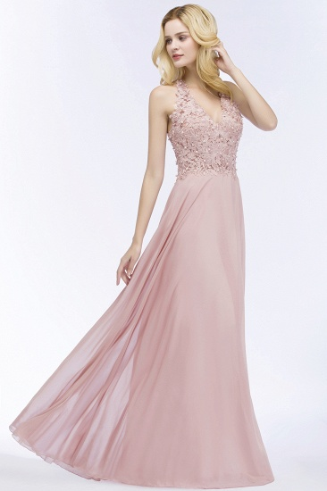 BMbridal A-line V-neck Sleeveless Long Appliques Chiffon Bridesmaid Dress_14