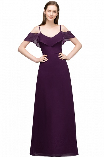 BMbridal Affordable A-line Chiffon Off-the-Shoulder V-neck Long Bridesmaid Dress In Stock_2