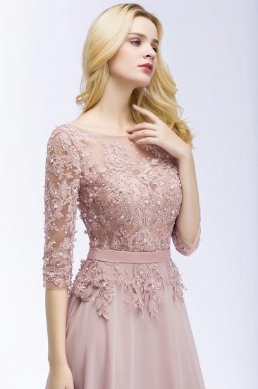 Elegant Scoop Half-Sleeves Lace Dusty Rose Bridesmaid Dress With Pearls_6
