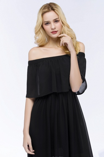 BMbridal Affordable Black Off-the-shoulder Long Chiffon Bridesmaid Dress Online_8