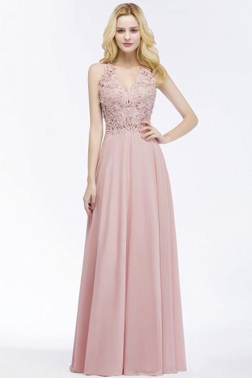 BMbridal A-line V-neck Sleeveless Long Appliques Chiffon Bridesmaid Dress_12